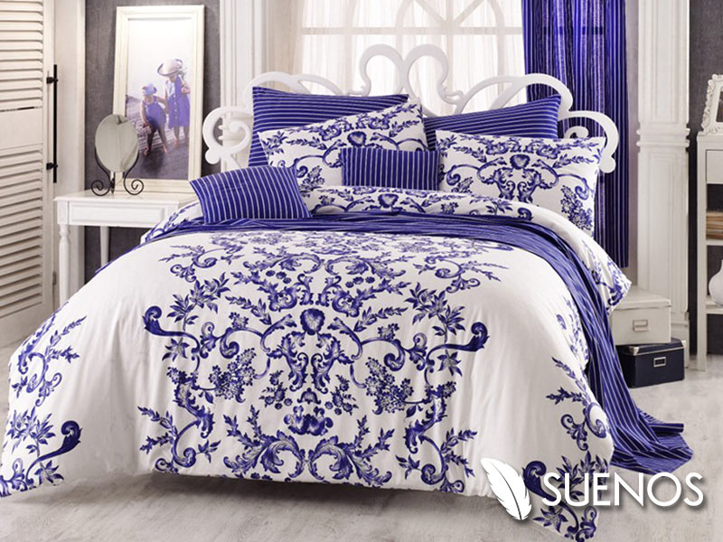 Lenjerie Single Royal Blue (Bumbac 100%)