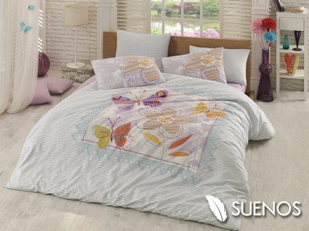 Lenjerie Single Trendy Albastra (Bumbac 100%)