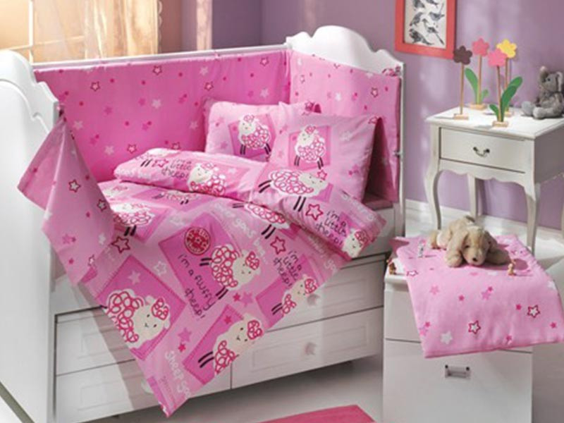 Set Complet Lenjerie Patut Bebe Little Sheep Roz (Satin Deluxe)